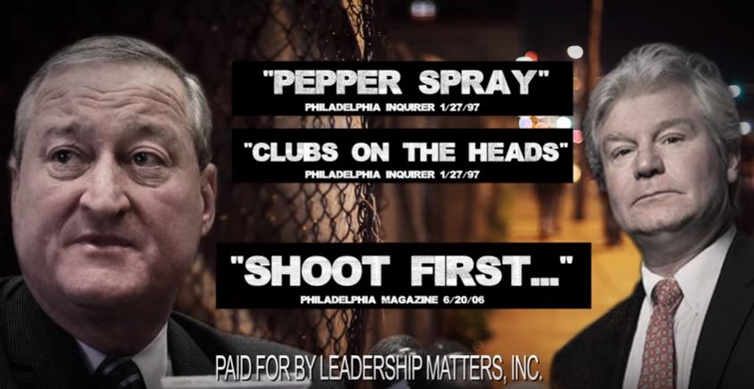 Leadership Matters Inc. registered as a nonprofit in Pennsylvania just before the May 2015 Democratic primary for mayor in Philadelphia. The group aired this ad one time before that primary, accusing then-candidate Jim Kenney and John Dougherty, leader of Local 98 of the International Brotherhood of Electrical Workers, of being in favor of police brutality.