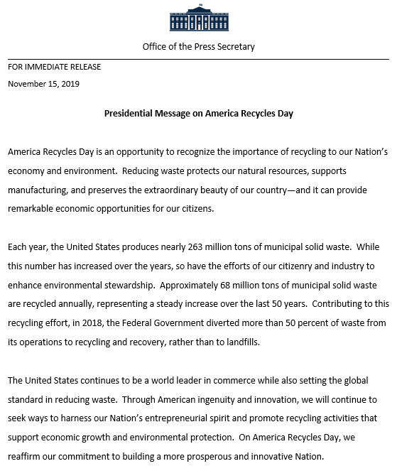 Presidential Proclamation on Recycling