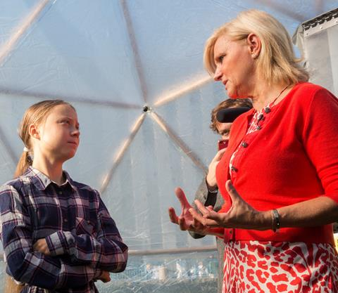 Dr Maria Neira and Greta Thunberg  © Ben Hartschuh / WHO