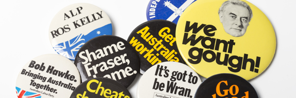 Various badges from past Australian election campaigns