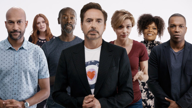 "Keegan-Michael Key, Julianne Moore, Don Cheadle, Robert Downey Jr., Scarlett Johansson, Yvette Nicole Brown, and Leslie Odom Jr., from Save the Day's ""Important"" PSA."
