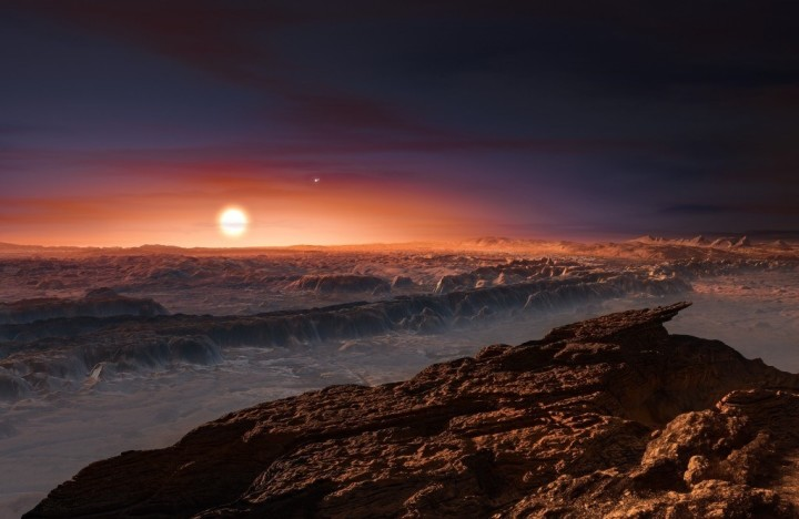 An artist's impression of the view from the surface of Proxima b.