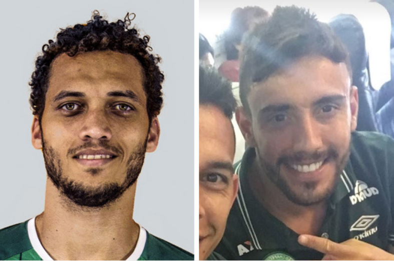 Chapecoense players Helio Hermito Zampier Neto, 31 (left), and Alan Ruschel, 27, survived the crash.