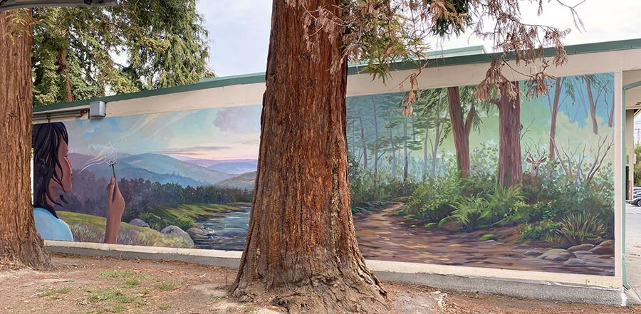 Girl Blowing Dandelion Fluff Mural Beside Northern California Redwood Trees