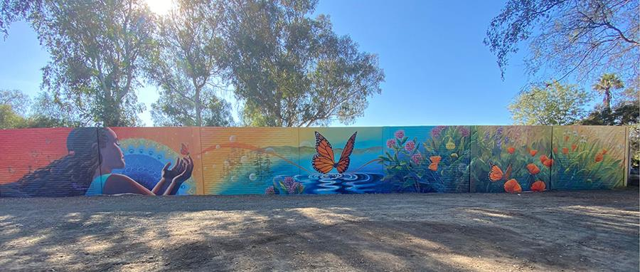 Long Community Mural at Dirt Lot in East San Jose